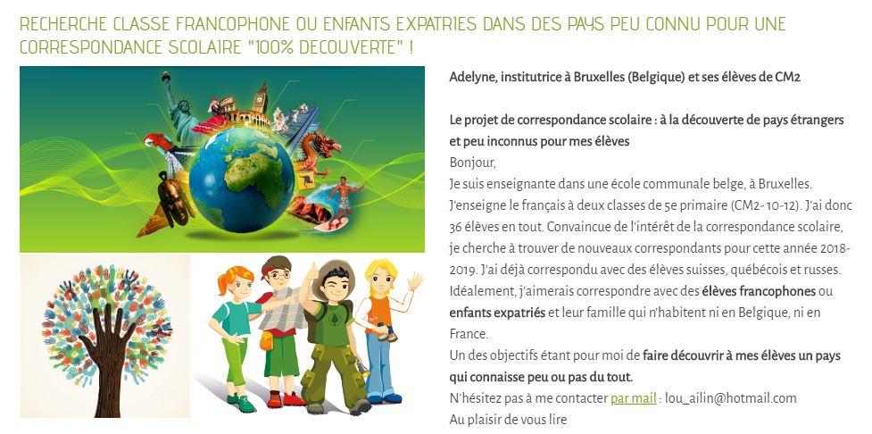 idee correspondance scolaire avec famille en expatriation