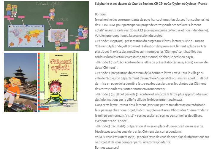 idee de correspondance scolaire avec projet Clement Applati